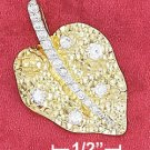 """STERLING SILVER JEWELRY 18"""" VERMEIL 19X30M HAMMERED LEAF PENDANT WITH CZ (nk1096)"""