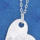 "STERLING SILVER JEWELRY 18"" PENDANT CHAIN WITH 24MM WIDE LASER ETCHED HEART DISK (nk1113)"