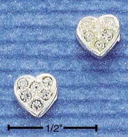 STERLING SILVER JEWELRY PAVE HEART POST EARRINGS (ep279)