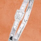 STERLING SILVER JEWELRY  HP BELT & BUCKLE BANGLE (5MM) W/ CZ ACCENTED BELT BUCKLE (br2810)