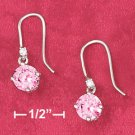 STERLING SILVER JEWELRY RP 6.5MM PINK ROUND BASKET SET CZ W/TINY CZ ACCENT EARRINGS ON FW (ea3457)