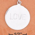 "STERLING SILVER JEWELRY RP 18MM ROUND ""LOVE"" DISK CHARM (ch3646)"