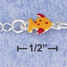 "STERLING SILVER JEWELRY 5.5"" ITALIAN CHILD'S ENAMEL FISHY BRACELET (br2835)"