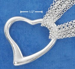 "STERLING SILVER JEWELRY ITALIAN 16"" 6 STRAND ROLO NECKLACE W/ LARGE OPEN HEART CENTER PIECE (nk785)"