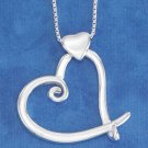 "STERLING SILVER JEWELRY 18"" ITALIAN BOX NECKLACE W/ WHIMSICAL OPEN HEART ON SM SOLID HEART (nk822)"