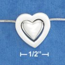 "STERLING SILVER JEWELRY 17"" FOXTAIL NECK W/LARGE SATIN HEART & SMALL HP CONCENTRIC HEART (nk1013)"