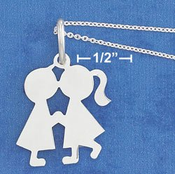 "STERLING SILVER JEWELRY 18"" 1MM CABLE CHAIN NECK W/ 22X35MM HP KISSING BOY & GIRL (nk1086)"