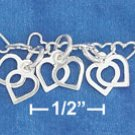 "STERLING SILVER JEWELRY 7"" SS HP 4MM MINI HEART LINK BRACELET (br2775)"