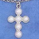 "STERLING SILVER JEWELRY 7.25"" PLATINUM PLATED ROLO BRACELET W/ 10X14M PEARL CROSS DANGLE (br2910)"