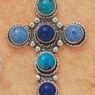 STERLING SILVER JEWELRY 6 STONES DENIM LAPIS,TURQUOISE,LAPIS CROSS CHARM (ch1370)