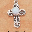STERLING SILVER JEWELRY FANCY FILIGREE W/SYNTHETIC OPAL CROSS CHARM (ch1373)