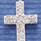 STERLING SILVER JEWELRY CROSS W/ WHITE CZ'S CHARM (15x30MM) (ch1498)