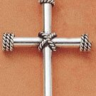 STERLING SILVER JEWELRY LARGE ROPED CROSS PENDANT (ch1642)