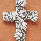 STERLING SILVER JEWELRY FANCY BRANCH & LEAF CROSS CHARM (ch1643)