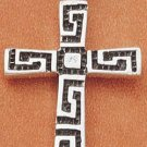 STERLING SILVER JEWELRY GREEK KEY DESIGN CROSS (ch1646)