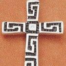 STERLING SILVER JEWELRY GREEK KEY DESIGN CROSS (ch1646)