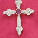"STERLING SILVER JEWELRY 18K 18"" VERMEIL CABLE CHAIN NECK W/ ROUND RUBY & ILLUS SET CROSS (nk1038)"