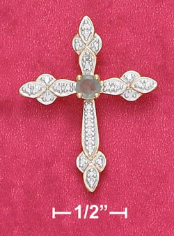 """STERLING SILVER JEWELRY 18K 18"""" VERMEIL CABLE NECK W/ROUND EMERALD & ILLUSION SET CROSS (nk1040)"""