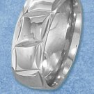 STAINLESS STEEL DIAMOND CUT 8MM BAND WITH CONTINUOUS SQUARE PATTERN (sr3052)