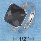 STERLING SILVER JEWELRY HP CHECKERBOARD CUT AND SLIGHTLY DOMED BLACK CZ RING (p10086)