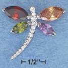 STERLING SILVER JEWELRY HP MULTI COLORED CZ DRAGONFLY SLIDER PENDANT (p10041)