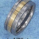 TUNGSTEN STEEL 8MM WEDDING BAND W/ SEGMENTED GOLD COLOR CENTER STRIPE (p10616)