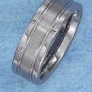 TUNGSTEN STEEL 8MM WEDDING BAND W/ SEGMENTED 3MM BRUSHED CENTER STRIPE (p10615)