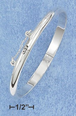 STERLING SILVER JEWELRY 5MM HIGH POLISH CHILD'S BANGLE BRACELET (56MM IN DIAMETER) (br285)