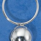 STERLING SILVER JEWELRY  ROUND HANDLE HP BABY RATTLE W/ BALL (pn478)