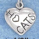 "STERLING SILVER JEWELRY ANTIQUED 13MM ""I HEART CATS"" HEART CHARM  (p10325)"