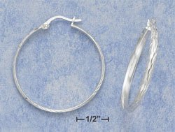 "STERLING SILVER JEWELRY  HP 1 1/2"" HOOP EARRING WITH LASER DIAMOND CUT AND FRENCH LOCK (ea3489)"