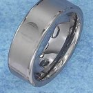 STERLING SILVER JEWELRY  TUNGSTEN STEEL 8MM WEDDING BAND WITH LASER ETCHED SPIRALS (p10619)