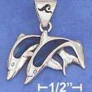 STERLING SILVER JEWELRY 16X25M DBL JUMING DOLPHINS W/ PAUA SHELL INLAY & WAVE STAMP ON BAIL (ch3725)