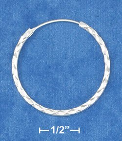 "STERLING SILVER JEWELRY HP 1 1/4"" SQUARE STOCK LASER CUT ENDLESS HOOP (ea3481)"