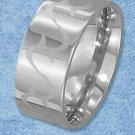 STERLING SILVER JEWELRY STAINLESS STEEL HIGH POLISH 10MM BAND (sr3056)