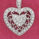 STERLING SILVER JEWELRY PAVE CZ HEART CHARM WITH FILIGREE BAND (ch3013)