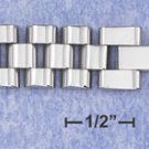 "STAINLESS STEEL 8"" WATCH BAND BRACELET W/OFFSET LINKS IN 3 ROWS (br2816)"