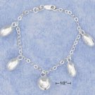 "STERLING SILVER JEWELRY  7"" HP CABLE CHAIN BRACELET W/ 4 OVAL BEADS & A 12MM BALL (BR2809)"