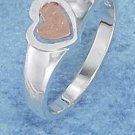 STERLING SILVER JEWELRY LOPSIDED MATTE FINISH HEART RING (p10812)