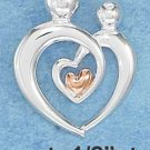 STERLING SILVER JEWELRY DOUBLE OPEN HEART PARENT & CHILD PENDANT (p10860)