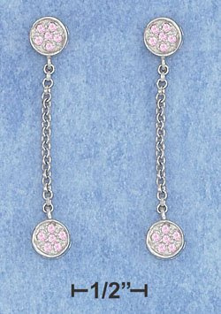 STERLING SILVER JEWELRY  HP PINK CZ PAVE SET STONES W/ 25MM CHAIN (xx5219)