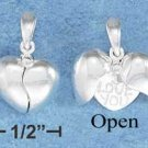 "STERLING SILVER JEWELRY  12MM MOVEABLE SPLIT HEART W/ ""I LOVE YOU"" HEART INSIDE (p10265)"