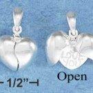 "STERLING SILVER JEWELRY  12MM MOVEABLE SPLIT HEART W/ ""I LOVE YOU"" HEART INSIDE (p10265)"