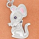 STERLING SILVER JEWELRY RP 12X17MM ENAMEL MOUSE CHARM WITH MOVEABLE HEAD (ch3691)