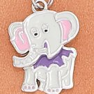 STERLING SILVER JEWELRY RP 14X16MM ENAMEL ELEPHANT CHARM WITH MOVEABLE HEAD (ch3689)