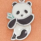STERLING SILVER JEWELRY RP 13X17MM ENAMEL PANDA BEAR CHARM WITH MOVEABLE HEAD (ch3687)