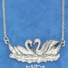 "STERLING SILVER JEWELRY 16""-18"" ADJUSTABLE 19X39MM SWIMMING SWANS NECKLACE (nk1131)"