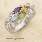 STERLING SILVER JEWELRY PLATINUM PLATED AMY, CITRINE, BL TOPAZ, WHITE TOPAZ & PERIDOT BAND (sr2156)
