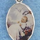STERLING SILVER JEWELRY 13X18MM OVAL COLOR ETCHED BAPTISM PENDANT  (P10292)