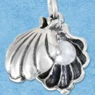 STERLING SILVER JEWELRY MOVEABLE OYSTER SHELL CHARM WITH PEARL INSIDE {p11627}